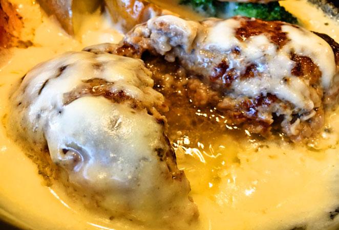 ハンバーグインチーズ画像 チーズフォンデュハンバーグ画像