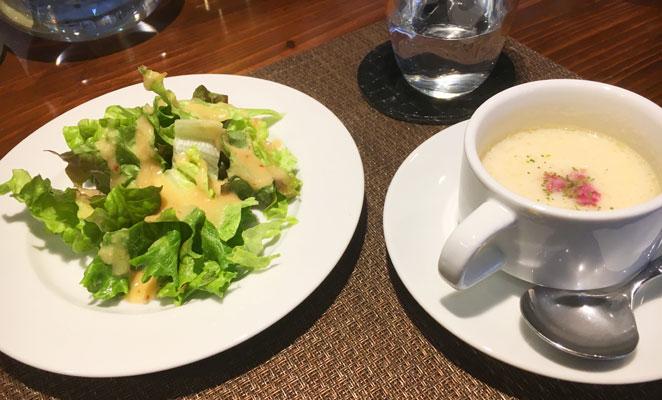 大分市ラクーアンクロシェのサラダとスープ画像